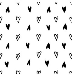 monochrome hearts signs seamless pattern vector image