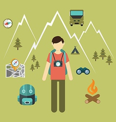 Mountain hiking nature turist and climbing info vector