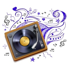 Music doodle vinyl record player vector image