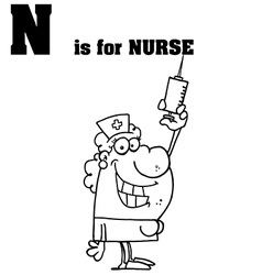 Nurse cartoon with letter vector image