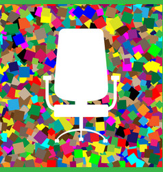 office chair sign white icon on colorful vector image