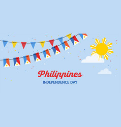philippines flags bunting waving on blue sky vector image