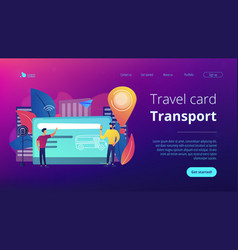 Public transport travel pass cardconcept landing vector