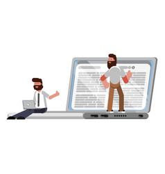 reading app on laptop vector image