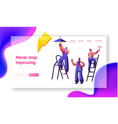 Repair service professional worker landing page vector