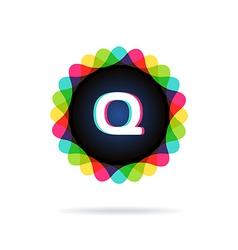 Retro bright colors Logotype Letter Q vector