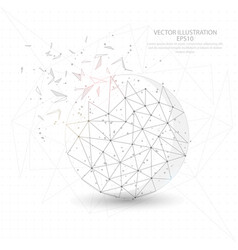 Round ball digitally drawn low poly triangle wire vector