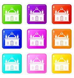 royal castle icons 9 set vector image