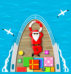 santa claus swimming on a yacht vector image