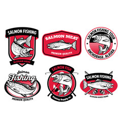set bundle salmon fishing badge vector image