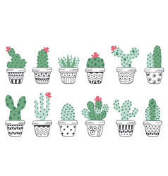 Set isolated cactus in pots scandinavian style vector