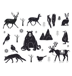 set northern animals silhouettes set of vector image