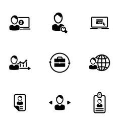 Set simple icons on a theme job vector