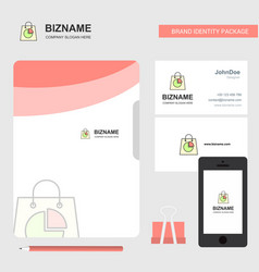 shopping bag business logo file cover visiting vector image