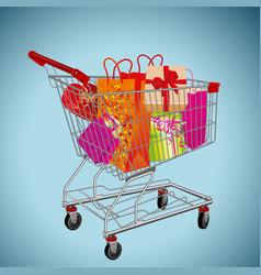 shopping cart and gift box vector image