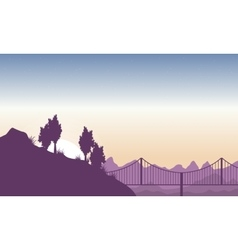 Silhouette of hill with bridge landscape vector image vector image