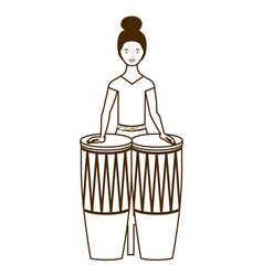 Silhouette woman with congas on white vector