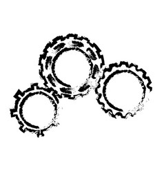 sketch gears team work wheel cooperation vector image