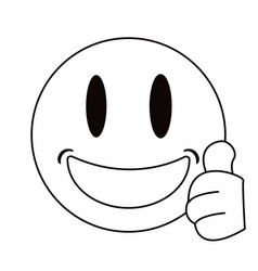 Smiling thumbs emoticon style thin line vector