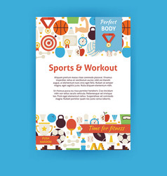 Sport and Workout Invitation Template Flyer vector image
