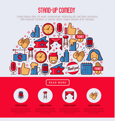 stand up comedy show concept in half circle vector image