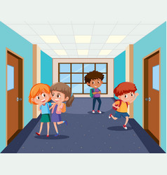 Student at school hallway vector