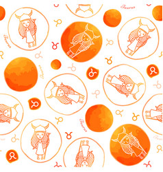 taurus zodiac sign seamless pattern vector image