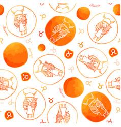 Taurus zodiac sign seamless pattern vector