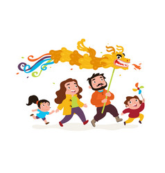the family goes with dragon funny characters vector image