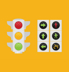 traffic light single flat icon on background vector image