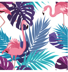 Tropical exotic leaves flamingo pattern violet vector