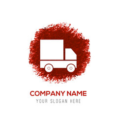 Truck icon - red watercolor circle splash vector