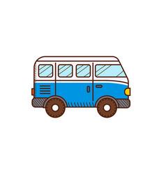 Van car icon isolated on white retro travel vector
