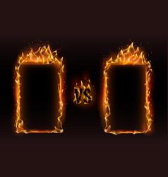 Versus frames fire vs frame screen for boxing vector