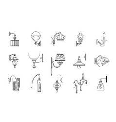 Wall lamps line icons set vector