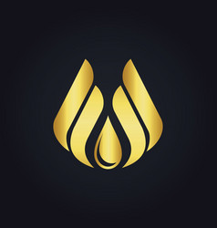 water drop eco wing abstract gold logo vector image vector image