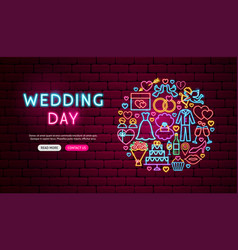 wedding day neon banner design vector image