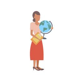 Woman geography teacher holding clipboard vector