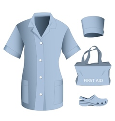 Woman medical clothes set vector