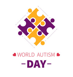 World autism day isolated icon puzzle pieces vector