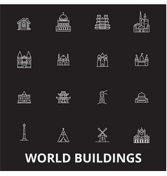world buildings editable line icons set on vector image