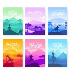 Yoga exercise on top mountains vector