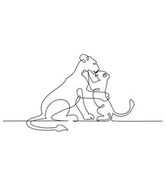 young lioness with lion cub one line drawing vector image