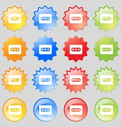 Cassette icon sign Set from sixteen multi-colored vector image vector image