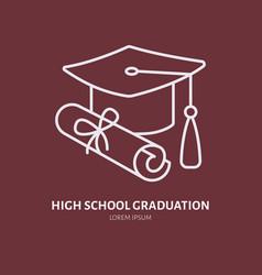 high school graduation line icon linear vector image