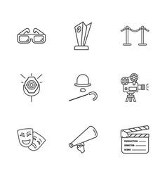 Nine cinema icons vector