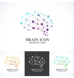 Set of Colorful Template Brain Logo vector image