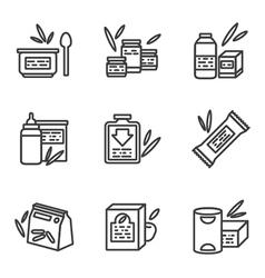 Simple line icons for baby food vector image