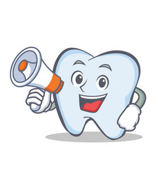 tooth character cartoon style with megaphone vector image vector image