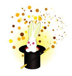 a rabbit in a magicians hat a magic wand vector image